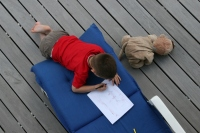 Sur la terrasse avec Yaya